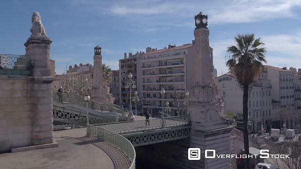 Aerial view of the monumental stairs at Marseille-Saint-Charles train station, filmed by drone, Marseille, France