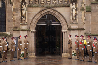 Military Bearer Party in Formation outside Leicester Cathedral