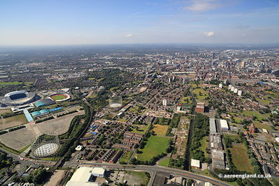 aerial photograph of Miles Platting Manchester England UK