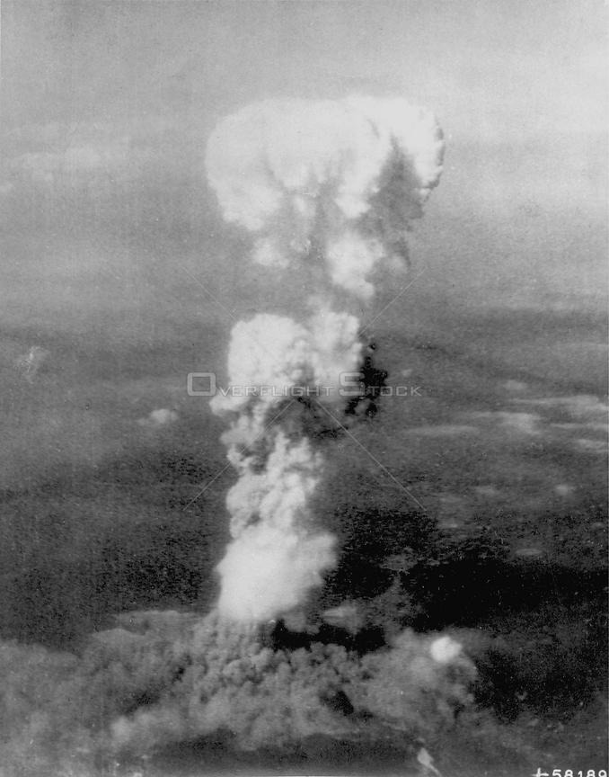 JAPAN Hiroshima -- 05 Aug 1945 -- Out with a bang...One of the first atomic bomb detonations in Hiroshima at the end of World War II
