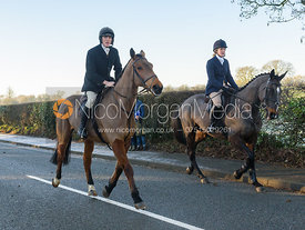 Rory Bevin, Jodie Nicholls leaving the meet - The Cottesmore Hunt at Pickwell Manor 28/12