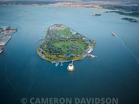 Aerial photograph of Governor's Island in New York City.