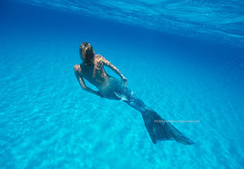 Mermaid underwater, Bahamas Bank, Bahamas Islands