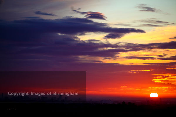 Sunrise over Birmingham from the village of Romsley, Worcs.