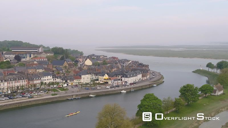 Aerial view of the medieval village of Saint-Valery-sur-Somme, in northern France, filmed by drone
