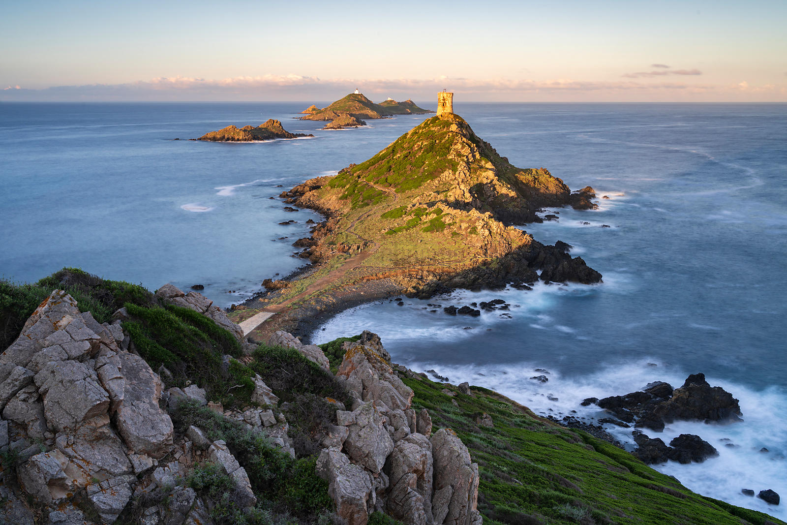 Genoese Tower and Lighthouse at Punta Parata at Sunrise