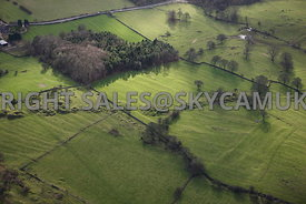 Derbyshire aerial photograph of ancient Bell Pits Old Mine workings Carsington