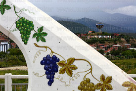 Grape mural on Puente Peregrino / Pilgrim Bridge over River Guadalquivir, Tarija, Bolivia