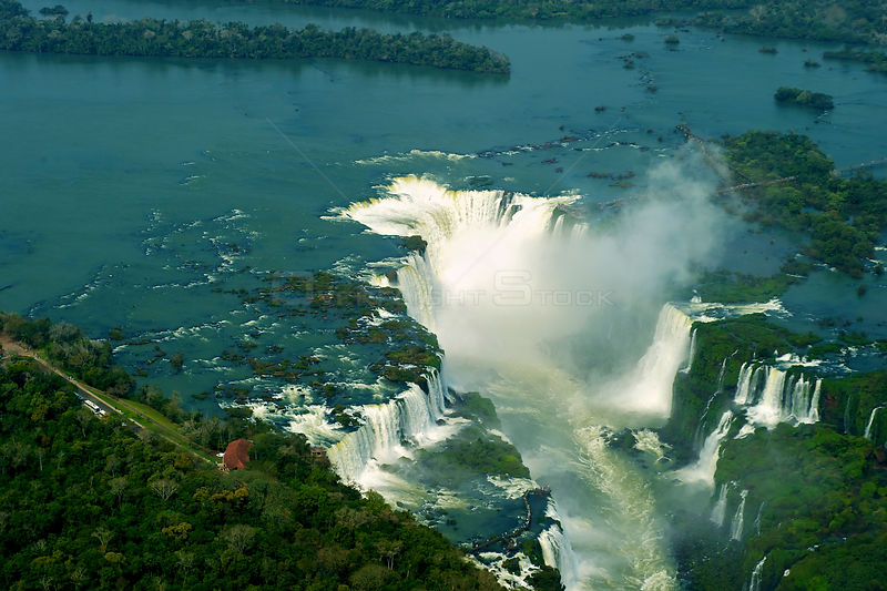 Aerial view of the Iguazu Falls waterfalls on the border between Brazil and Argentina, August 2008.
