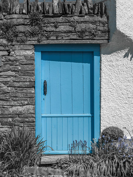 Front door of a cottage in countryside