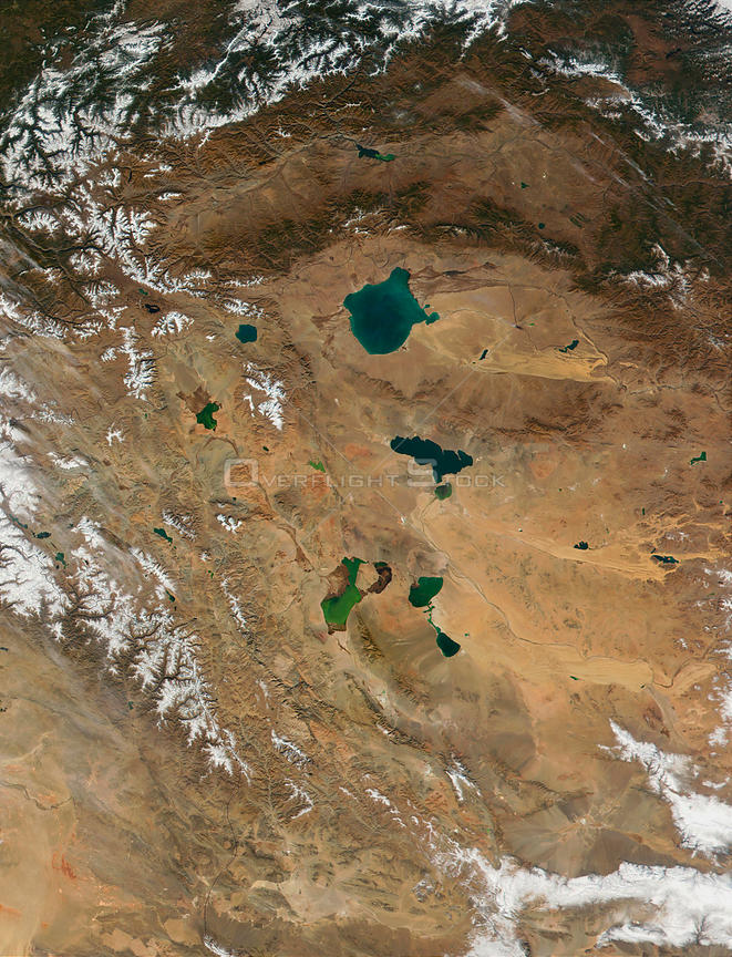 EARTH Mongolia -- 15 Oct 2001 -- The western region of Mongolia, with its several salt lakes, can be seen in this true-color satellite image.