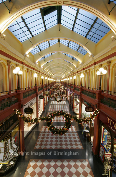 Great Western Arcade at Christmas time, Birmingham City Centre. Retail outlets at Christmas time.