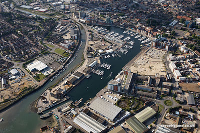 aerial photograph of  Ipswich docks , Suffolk UK