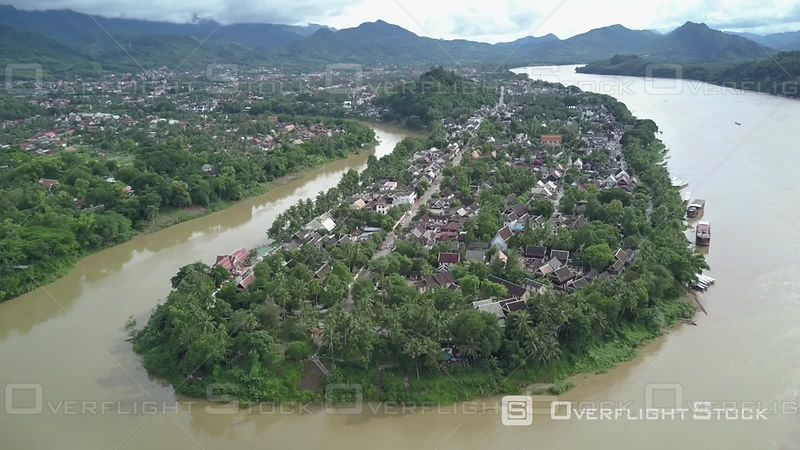 Aerial view of the old city filmed by drone, Luang Prabang, Laos