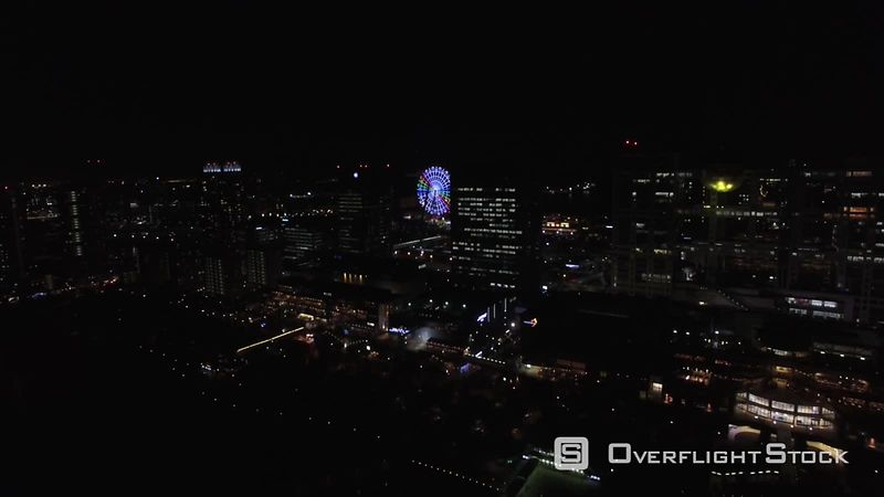 Drone Video of the Tokyo Bay by night, filmed by drone, Odaiba, Tokyo, Japan