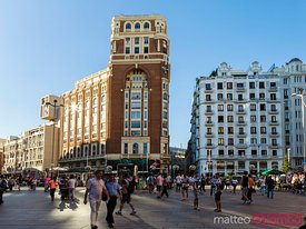 Plaza de Callao full of people, Madrid, Spain