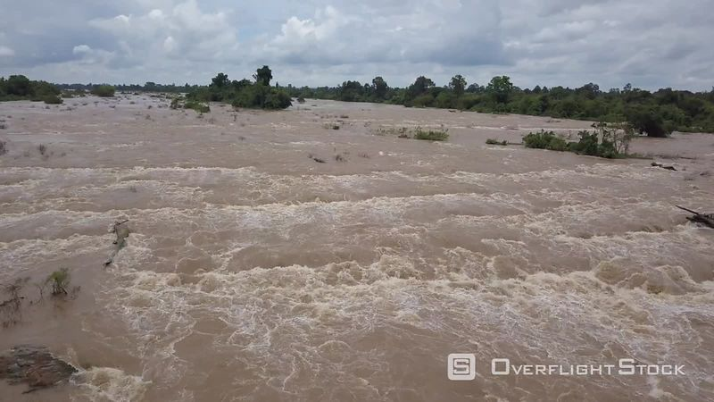Flyover the Don Khon water and the Mekong river, filmed by drone, Don Khone Island, Laos