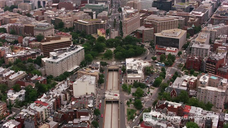 Washington, D.C. Flying up Connecticut Ave. over Dupont Circle to White House.  Shot with Cineflex and RED EpicW Helium.