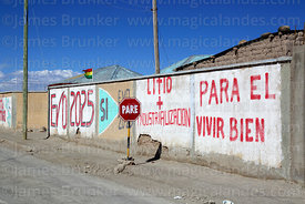 Propaganda showing support for Evo Morales and the industrialisation of the Salar de Uyuni's lithium reserves, Colchani, Bolivia