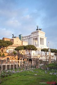 Ancient roman ruins and modern Vittoriano monument, Rome, Italy