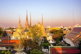 Famous Wat Pho temple at sunset, Bangkok, Thailand