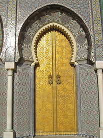 The entrance to the Royal Palace (Dar el-Makhzen) Fes, Morocco; Portrait