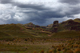 View across altiplano to Tinajani Canyon in rainy season , near Ayaviri , Puno department , Peru