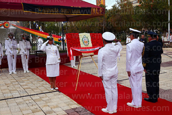 Bolivian navy members present a floral tribute from the Peruvian Embassy at the start of official events for Dia del Mar / Day of the Sea, La Paz, Bolivia
