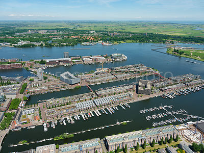 The Eastern Docklands (Oostelijk Havengebied) showing the residential enclaves, Sporenburg, the KNSM island, the Java-Island and Borneo Island,  Zeeburg, Amsterdam, Netherlands