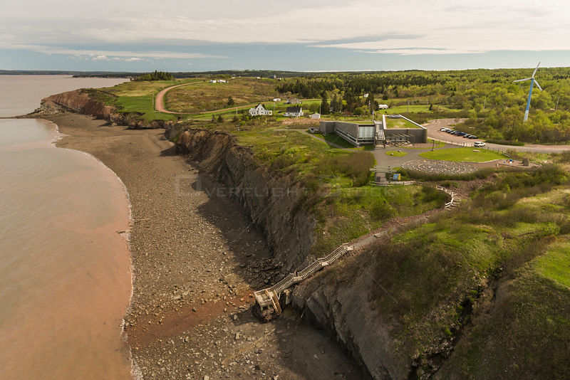 Aerial view of the Joggins Fossil Cliffs and UNESCO World Heritage Site, along the shore of the Bay of Fundy in Nova Scotia, Canada. May 2017
