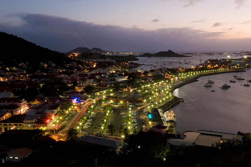 Elevated view over the French town of Marigot from Fort St. Louis at dusk, St Martin, Leeward Islands, Lesser Antilles, Caribbean, West Indies 2008