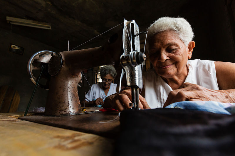 Elderly Women Sewing