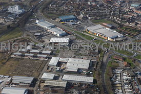 Widnes aerial photograph looking B & Q Dennis road and Fiddlers Ferry road towards Ashley Way and the Ashley retail park