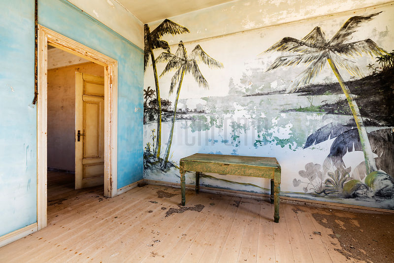 Palm Tree Mural inside an Abandoned Building