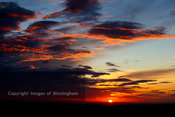 Sunrise over Birmingham from the village of Romsley, Worcestershire.