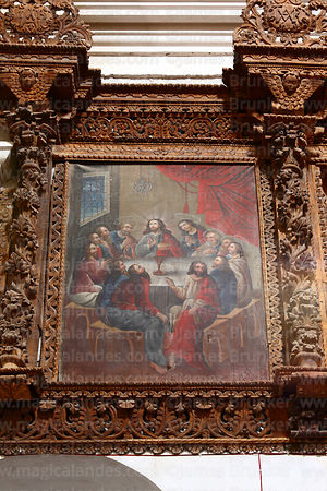 Original oil painting of Last Supper with disciples seated in form of a heart, church of Santiago the Apostle / Immaculate Conception, Lampa, Peru