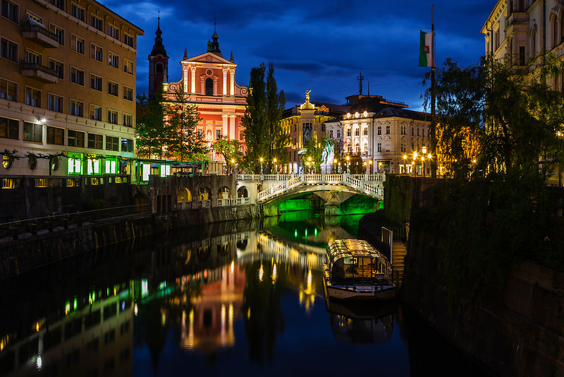View of Perseren Square and the Ljubljianica River at Dawn