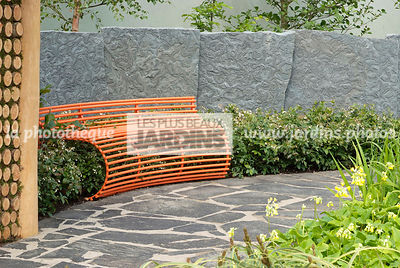 Bench, Contemporary garden, Pavement, Resting area, Stone, Low wall stone, Digital