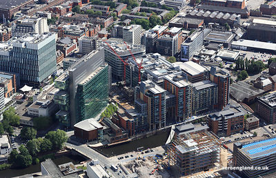 aerial photograph the Leftbank development in Spinningfields Manchester England UK.