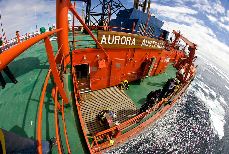 High angle view of the deck of the icebreaker 'Aurora Australis', Antarctica. All non-editorial uses must be cleared individually.