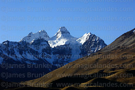 Shadows on hillside and Mt Condoriri, Cordillera Real, Bolivia