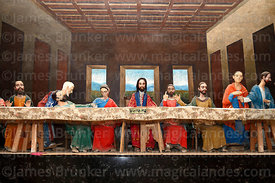 Full sized 3 dimensional copy of The Last Supper using statues in chapel of church of Santiago the Apostle / Immaculate Conception, Lampa, Peru