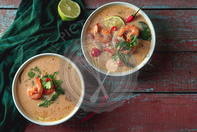Traditional thai soup tom yum with shrimps