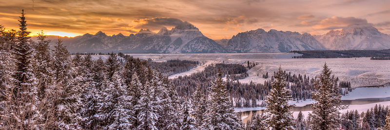 Sunset from Snake River Overlook in Winter.  Grand Tetons National Park, Wyoming