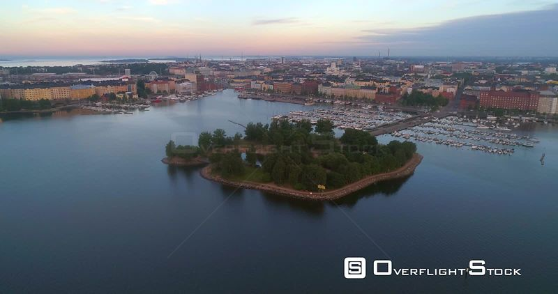 The coast of a Helsinki, Tervasaari island and the cityscape and the cathedral of Helisinki in Helsingfors, Uusimaa, Finland