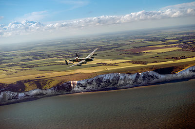 Lancaster over the white cliffs in Kent