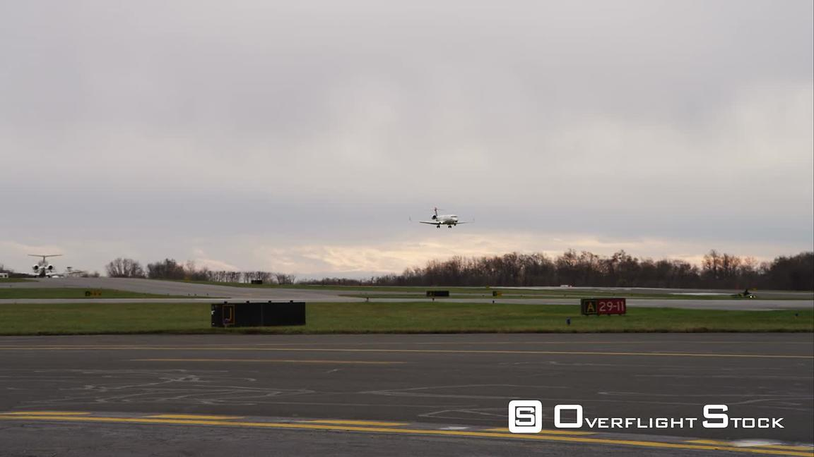 Plane Landing at Westchester County Airport in Greenwich, Connecticut. Shot in November