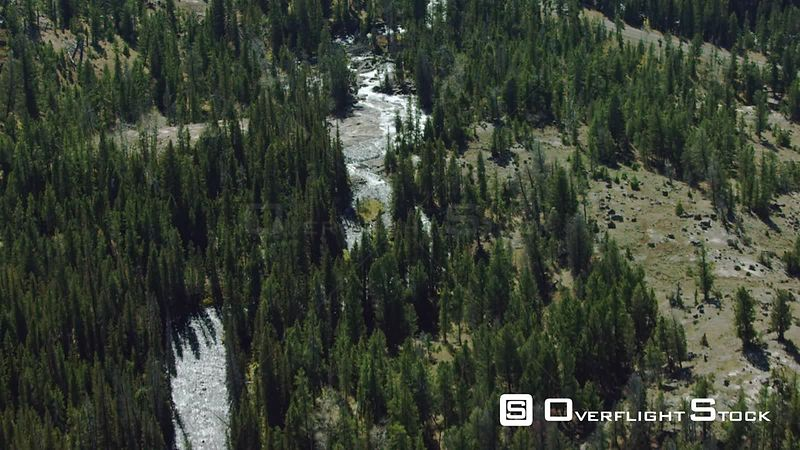 A high mountain stream flows in the heart of the Beartooth mountain range near Yellowstone National Park