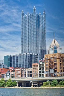 "Vertical Photo of ""First Side"" and PPG Place in Pittsburgh, PA."
