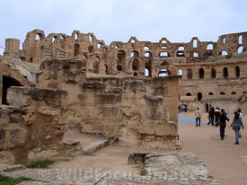 The majestic ruins of the amphitheatre of Thysdrus, El Jem, Tunsia; Landscape